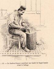 FONDEUR FORGERON MARTELANT LINGOT LAMINE GOLD SMITH 1907 ENGRAVING
