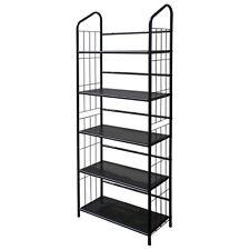 5-Tier Metal Wire Bookcase in Black Finish - R597-5
