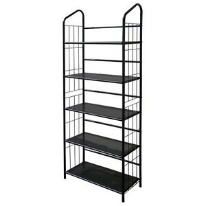 5-Tier Metal Wire Bookcase in Black Finish - R597-5