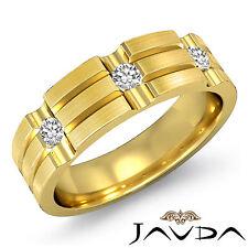 3Stone Bezel Diamond 7mm Solid Ring Men Half Wedding Band 14k Yellow Gold 0.25Ct