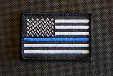 Thin Blue Line United States Flag Patch Police SWAT Iron On / Sew On