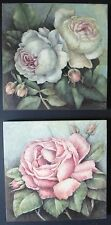 shabby chic block wall mount print flowers roses pretty pastel floral picture
