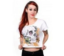 Banned Apparel White Skull CropTop, official merch, alternative clothing