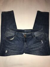 New York & Company Women's Jeans Sz 18 Slim Slouch Distressed Stretch Med Wash