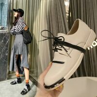 Casual Women's Round Toe Lace up Flat Oxfords Shoes Leather Pumps size