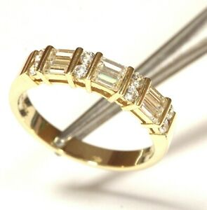 14k yellow gold cubic zirconia cz womens anniversary band ring 4.5g estate 10.25