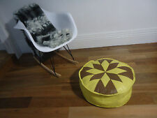 Beautiful Leather Ottoman for use as Coffee Table or Pouf or Pouffe - Yellow+Tan