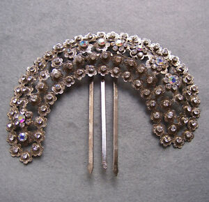 Vintage Java hair comb antiqued silver tone filigree hair accessory (AAK)