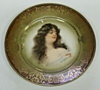 Antique Imperial Carlsbad Austria Portrait Plate Signed Constance 9 1/2""