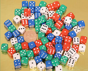 Coloured Spot Dice - 00561 - Pack of 100