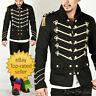 Men Handmade Gold Embroidery Black Military Napoleon Hook Jacket 100% Cotton