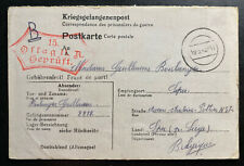 1943 Germany Oflag 2A POW Prisoner of War Postcard Cover To Liege Belgium
