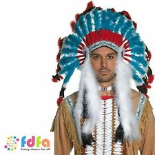 AUTHENTIC RED INDIAN FEATHERED HEADDRESS mens fancy dress costume accessory
