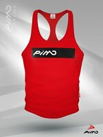 PIMD Box Male Vest Red/ Black Gym Workout Stringer Top Muscle Mens S M L XL