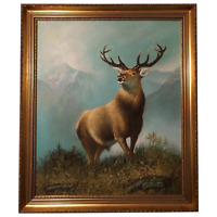 Fine Art English School Oil Painting Stag Deer Highlands Portrait After Landseer