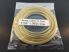 """Brass Cable for Tall Case and Large Clocks 1/16"""" .062"""" Diameter x 11' in Length"""