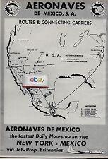 AERONAVES DE MEXICO 1960 BRISTOL BRITANNIA JET PROPS IDL/MEXICO D.F ROUTE MAP AD