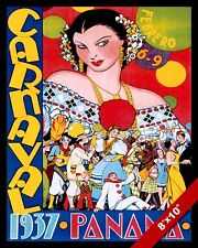 VINTAGE 1930'S PANAMA CARNAVAL VACATION TRAVEL AD POSTER ART REAL CANVAS PRINT