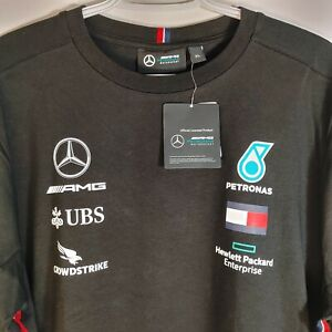 Amg Petronas Mercedes F1 Black T shirt Mens Size XL Official Licensed NWT