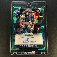 TODD GURLEY 2015 PANINI PRIZM GREEN CRACKED ICE REFRACTOR AUTO ROOKIE RC /40 NFL