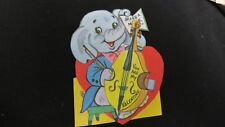 Vintage Blue Elephant playing Bass Fiddle Valentine Card c. 1960s unsigned
