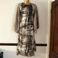 Brown silk Pakistani Indian kurta kameez top dress kaftan bat wings Small New