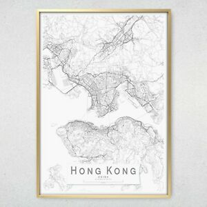 HONG KONG Monochrome Map Print, Wall Art Poster City Wall Decor