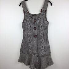 John Fashion Sweater Boho Retro Button Brown  L Wool Blend Sleeveless Cardigan