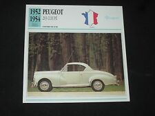 Peugeot 203 coupe 1952-1954 cars deluxe sheet info atlas card car france