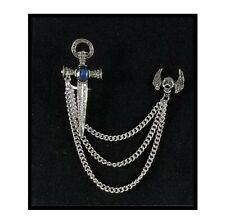 Pin Rhinestone Cross Brooch Prom Silver Multiplayer Tassels Swords Skull Brooch
