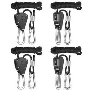 "2 Pairs (4 pc) Metal Gear Light Rope Hanger Ratchet Reflector Hangers 150lb 1/8"""