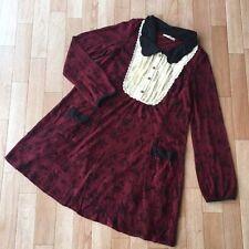 AXES FEMME Gothic Maid Lolita Japanese Gyaru wine red rose dress