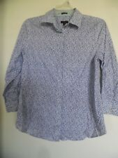 TALBOTS Women's Wrinkle Resistant Floral 3/4 Sleeve Button Down Shirt Size 4