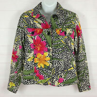 Studio Works womens size PS floral multicolor collared 100% cotton beaded blazer