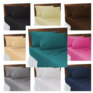 Percale Fitted Bed Sheet Poly Cotton Bunk Beds Single 4FT Double King Super King