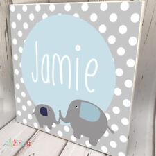 KIDS DOOR SIGN Wooden Name Plaque Custom Personalised Elephant Jungle Grey Decor