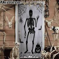 Black Bats Lace Skull Window Curtains Door Curtain Panel Spirit Halloween Decor