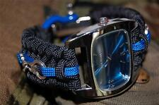 Custom Police Thin Blue Line Blue 550 Paracord Watch with Handcuffs & Shackle