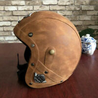Vintage Open Face Motorcycle Helmet Deluxe Leather Street Bike Scooter Cruiser