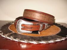 3D GENUINE LEATHER BULLHIDE MENS WESTERN BELT RANGER 1 3/8 RODEO BELT SZ 32