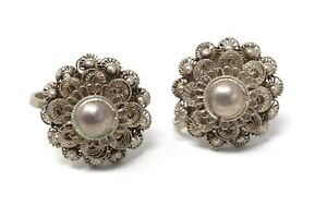 Beautiful Antique Art Deco Sterling Silver 925 Filigree Clip On Earrings #207