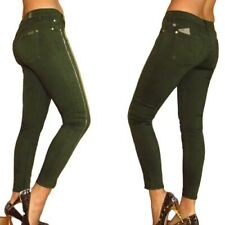 Seven 7 for All Mankind SKINNY Dark Olive Army Green Gold ZIPPER Jeans 27