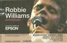 RARE / TICKET DE CONCERT - ROBBIE WILLIAMS : LIVE IN ENGLAND ANGLETERE UK 2001