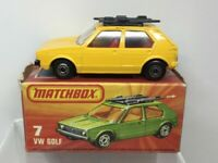 Lesney Matchbox Superfast No 7 VW Golf Yellow with Black Base NMIB