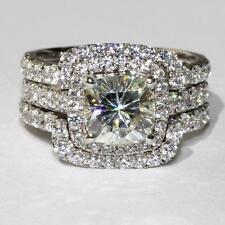 4.00 Ct Cushion Cut Diamond Engagement & Wedding Ring 14K White Gold Bridal Set
