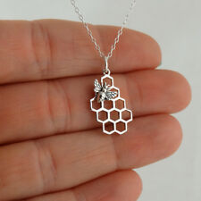 Honey Bee on Honeycomb Necklace - 925 Sterling Silver Bees Hive Beehive Queen