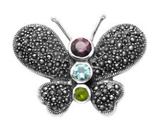 Sterling Silver & Marcasite Butterfly Pin w/Multi Color Crystals  - MPN48