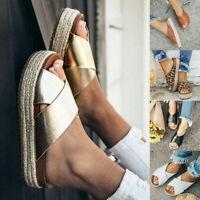 Femme Plateforme Antidérapant Été Casual Mule Sandales Plate Chaussures Tongs 25