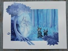 Ghost and Fennec Fox in the Blue Forest original watercolor painting Amber Stone