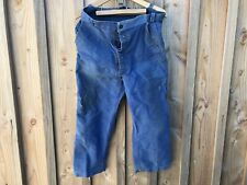 Ancien pantalon bleu de travail vintage paysan deguisement